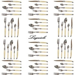 French Laguiole Dubost - Horn - Complete Flatware Set For 12 People (60 Pcs) - Stainless Steel Handles (Official Full Family Quality White Colour Dinner Table Cutlery Setting - Direct From France)