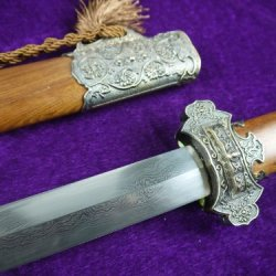 Tang Sword Full Tang Damascus Steel Bit Alloy Knife Fitted Mahogany Scabbard