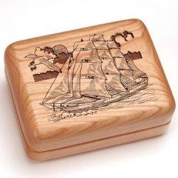 "3X4"" Box With Money Clip/Pocket Knife - Sailing Ship"