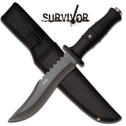 "Survivor ""Predator"" 12"" Survival Knife - Black Camo"