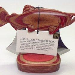 Made In Alaska Dymondwood Ulu Knife & Stand Exotic Colors Salmon Fish Design