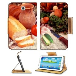 Cucumber Bread Tomato Baked Goods Herbs Knife Samsung Galaxy Tab 3 7.0 Flip Case Stand Magnetic Cover Open Ports Customized Made To Order Support Ready Premium Deluxe Pu Leather 7 12/16 Inch (190Mm) X 5 5/8 Inch (117Mm) X 11/16 Inch (17Mm) Liil Galaxy Tab