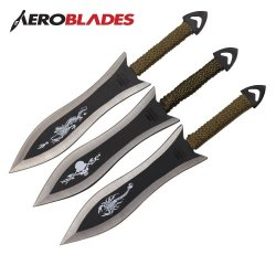 Set Of 6 6.5 Inch Paracord Wrapped Arrowhead Assorted Throwing Knives Aeroblades A28303-6