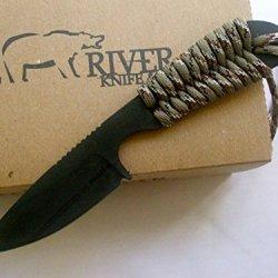 White River Knife & Tool Backpacker Hunting Knife Desert Camo Paracord Handle Black Ionbond Blade Coating Wrbp-Dc-Cbi