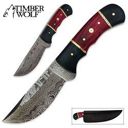 Timber Wolf Black & Red Pakkawood Hunter Damascus