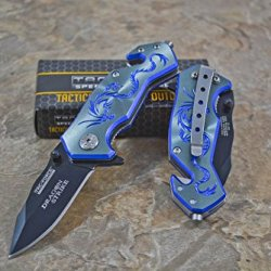 """Tac-Force Assisted Opening Camping Hunting Outdoor Blue/Gray Aluminum Handle Dragon Graphics Design A/O 3.5"""" Closed Small Pocket Knife"""