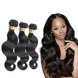"Mornice Hair 3 Bundles 100% Unprocessed 8A Peruvian Remy Body Wave Virgin Hair Weave Human Hair Extensions Natural Black 300 Gram (16""18""20"")"