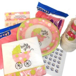 Baby Girl Shower Party Supplies - Plates, Napkins, Silverware, Cups, Decoration, Tablecover & 54 Hershey Kiss Labels