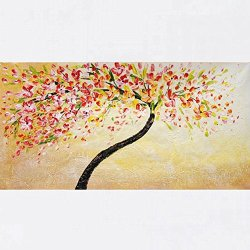 Xm Art-Spot Color Tree Palette Knife Landscape Oil Painting On Canvas Wall Art Deco Home Decoration(Unstretch And No Frame)