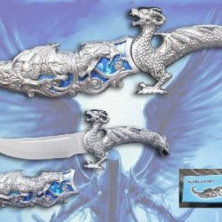"12"" Fantasy Dragon Dagger With Gift Box (Blue Fitting)"