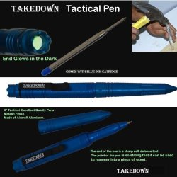 "P-15900-Bl. 6"" Takedown Tactical Pen W/ Clip- Metallic Blue Finish Stick Self Defence Defense Security Steel Weapon Panthtd"