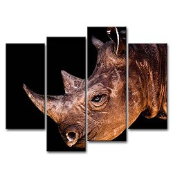 4 Piece Wall Art Painting Rhinoceros Head Close Up Pictures Prints On Canvas Animal The Picture Decor Oil For Home Modern Decoration Print