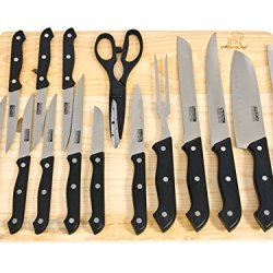 Masterchef 16Pc Kitchen Knife Set W/Wood Cutting Board Steak Knives Shears