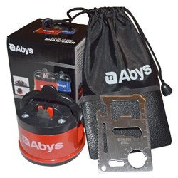 Knife Sharpener - Best Sharpening System For All Kitchen - Lifetime Guarantee With Bonus Tool & Bag By Abys