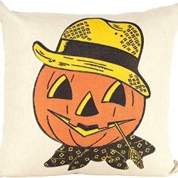 "Ox Bow Decor Jack O'Lantern Pumpkin Knife Edge Pillow 20"" X 20"""