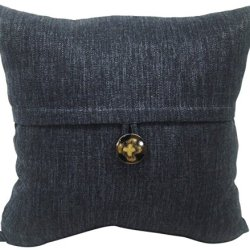 Newport Layton Home Fashions Key Largo Fine Knife Edge Polyester Filled Pillow With Button Accent, 20-Inch, Peacoat Blue