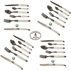 Laguiole Dubost - Ivory - Complete 24 Pieces Flatware Set For 4 People (New 6-Pcs Per Person Place Setting : Includes Exclusive Round Tip Table/Butter Knife) - Stainless Steel (Authentic French White Color Full Family Quality Cutlery Table Dinner Setting