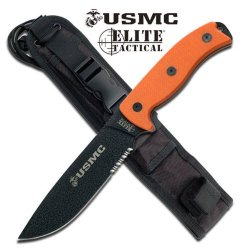 "M-1021Or Usmc U4Vhfe25Ng Elite Tactical Fix Blade Knife 12"" H7Kpfqrmij Overall Orange Ayeuiu56 Hlbv23Rt Fixed Blade12"" Overall6"" Black Stainless Steel Blade5Mm Thickness Blade With 1/4 Fblno2Cq8 Serration15Mm Thickness Orange G10 Handleincludes Yrxvpo Bla"