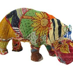 Vintage Sari Fabric Decorated Paper Mache Hippo Sculpture 6 In.