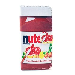 Mobilepick® Fashion Printed Nutella Tomato Ketchup And Knife Hazelnut Spread Pattern Pu Leather Wallet Fold Magnetic Flip Stand Skin Case Cover With Credit Card Money Slots For Apple Iphone 6 Plus 5.5 Inch + Cleaning Cloth