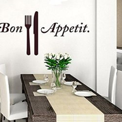 Wall Decal Vinyl Sticker Decals Art Decor Design Sign Bon Appetit Fork Knife Cutlery Kithen Family Home Holidays Bithday (R335)