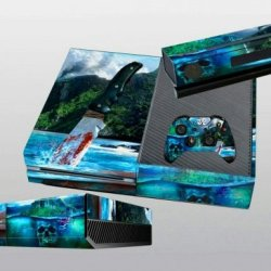 Designer Xbox One Vinyl Skin Skull Island Bloody Knife & Pirate Ship