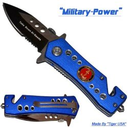 "2.5"" ""U.S. Military Power"" Spring Assisted Mini Tactical Rescue Knife"