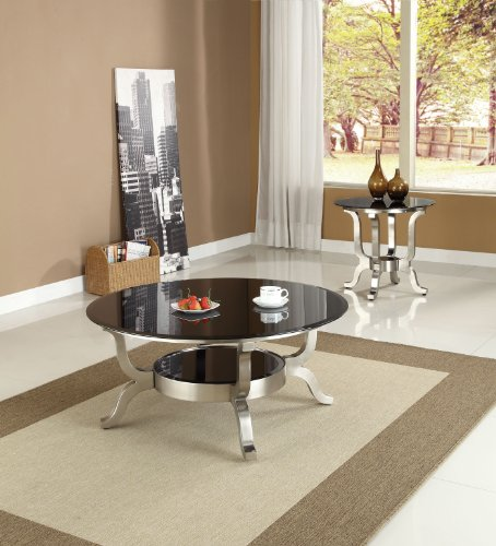 Image of Acme 80005 Rosa Glass Top Coffee Table, Chrome Finish (B0082A1C7K)