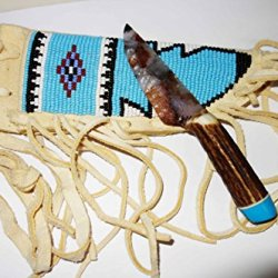 Knapped Agate Neck Knife W/ Red Stag, Beaded Sheath , Turquoise End Cap