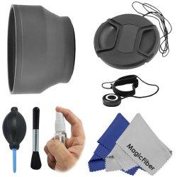 58Mm Essential Kit For Canon Rebel (T5I T4I T3I T3 T2 T2I T1I Xt Xti Xsi Xs Sl1), Canon Eos (1100D 700D 650D 600D 550D 500D 450D 400D 350D 300D 100D 60D 7D) - Includes: Soft Rubber Lens Hood + Deluxe Cleaning Kit + Snap-On Lens Cap (W/Cap Keeper) + Premiu