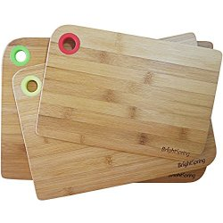 Bamboo Cutting Board Set - Eco-Friendly 3-Piece Chopping Boards - Kind To Knives - Anti-Bacterial