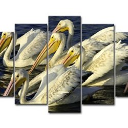 5 Piece Wall Art Painting Pelicans Get Together In The Water Prints On Canvas The Picture Animal Pictures Oil For Home Modern Decoration Print Decor For Bedroom