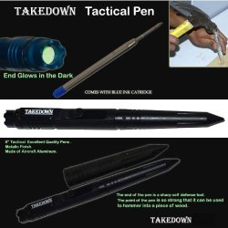 "P-15900-Bk. 6"" Takedown Tactical Pen W/ Clip- Jet Black Stick Self Defence Defense Security Steel Weapon Panthtd"