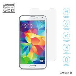 Aukey®Amzdeal Tempered-Glass Screen Protector For Samsung Galaxy S5 - Premium Crystal Clear, High-Response Touch, Oleophobic Coating, Industry-High 9H Hardness - Scratch Terminator
