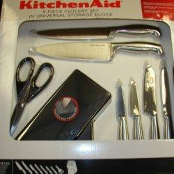 Kitchenaid Knife Set Stainless Steel Cutlery Hardwood Black Storage Block
