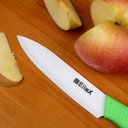 Eiiox White Blade Ceramic 5-Inch Utility Knife With Green Handle