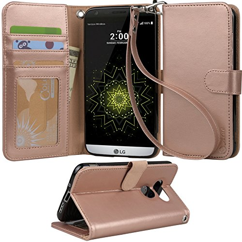 LG-G5-Case-Arae-Wrist-Strap-Flip-Folio-Kickstand-Feature-PU-leather-wallet-case-with-IDCredit-Card-Pockets-For-LG-G5-rosegold