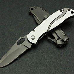 Silver Camping Survival Black Handle Folding Pocket Knife Glby6470-5.11''