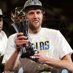 Dirk Nowitzki - 2011 Nba Championship & Mvp Trophy Game 6 Of The 2011 Nba Finals - 8X10 Photo