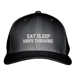 Eat Sleep Knife Throwing Sport Embroidered Adjustable Structured Hat Cap Black