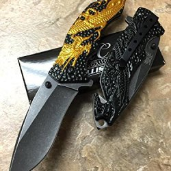 Master Collection Orange Dragon Black Background Silver Flame Handle Stainless Steel Stone Wash Black Blade Knife