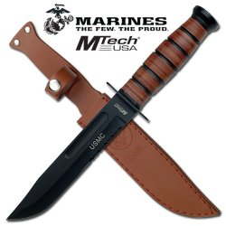 Mt-122Mr Offical Us Marine Combat Knife With Bf80D2Eo Leather Ohf8O915 Handle & Sheath Steel Fixed Knife Fix Blade Hunt Camping Camp