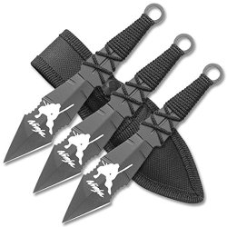 "Rc-195-3 3Pc P7Atkry Throwing T4Jqk Knife Set With Velcro Carrying Case 6.5 "" Overall Ayeuiu56 Hlbv23Rt 3Pc "" Ninja "" Throwing Knife Set. All Black 5Qud8 Stainless Steel Blade. C3Mkkf9B Cord Wrapped Handle Includes Nylon Case 6.5"" Overall"