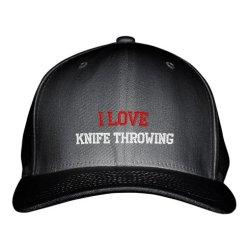 I Love Knife Throwing Sport Embroidered Adjustable Structured Hat Cap Black