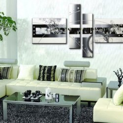 Sangu 100% Hand Painted Wood Framed 4-Piece Hot Sale Modern Black Lines For Abstract Oil Painting Gift Canvas Wall Art For Home Decoration