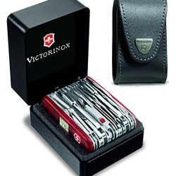 Victorinox Swisschamp Xavt Swiss Army Knife With 33269 Leather Pouch, 91 Mm, Red