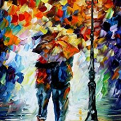 "Palette Knife Modern Figure Oil Painting Of Walking Couple With Umbrella Bonded By The Rain Painting On Canvas Size: 24"" X 36"" Unframed For Livingroom/Bedroom/Bathroom/Closet"
