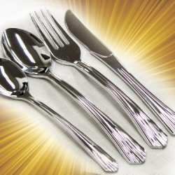 "40 Sets - Plastic Silverware, ""Looks Like Silver"" Heavyweight Disposable Flatware (160 Pc. Cutlery Set)"