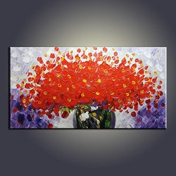 Palette Knife 8X16 In/20X40Cm Red Petal,Fine Art Superb Quality And Craftsmanship,Unframed Knife Painting Wall Art
