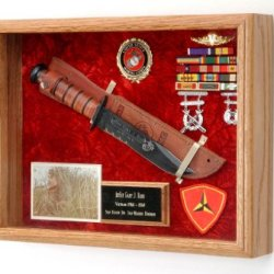 """Military Ka-Bar Knife Or Pistol Wall Display Case - Shadow Box - 16"""" X 12"""" X 3"""" All Branch Of Service Available (Usaf Emblem / Blue Velvet)"""